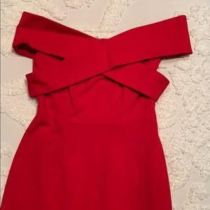 Red Off-the-shoulder Midi Dress